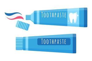 Ilustración de dibujos animados de vector de pasta de dientes para el cuidado bucal aislado sobre fondo blanco.