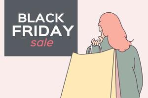 Black Friday banner concept.Girl or woman carrying a shopping bag after big sale. Good shopping on black friday. Hand drawn thin line style, vector illustrations.