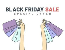Black Friday banner concept. Hands holding shopping bags on Black Friday. vector