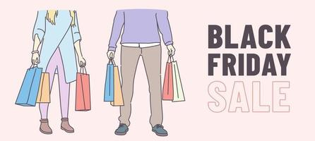 Black Friday banner concept. Young couple carrying a shopping bag. Good shopping on black friday. Hand drawn thin line style, vector illustrations.