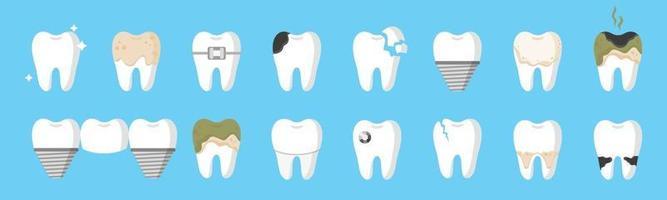 Conjunto de dibujos animados vectoriales de dientes con diferentes tipos de enfermedades dentales caries, sarro, placa, puente dental, aparatos ortopédicos, etc. vector