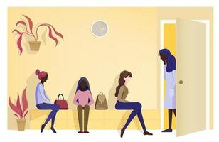 women in line for doctor. Minimalistic illustration. vector