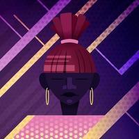 retrato minimalista. chica afro. ola retro vector