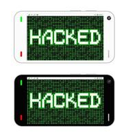 smartphone with hacked on screen vector