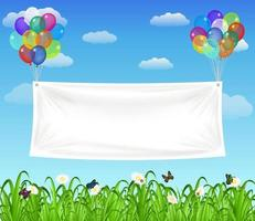 white vinyl banner floating with colorful balloons vector
