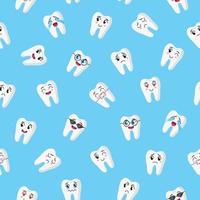 vector de dibujos animados de patrones sin fisuras con personajes de dientes lindos con diferentes emociones para web, textura de tela o papel tapiz.
