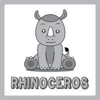 cute kawaii rhinoceros animal drawings illustrations art vector