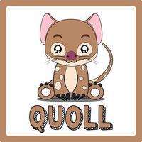 cute kawaii Quoll animal drawings illustrations art vector