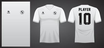 white sports jersey template for team uniforms and Soccer t shirt design vector