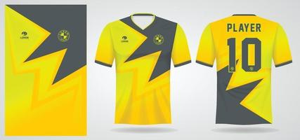 yellow black sports jersey template for team uniforms and Soccer t shirt design vector