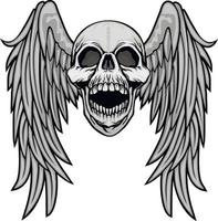 Gothic sign with skull and wings, grunge vintage design t shirts vector