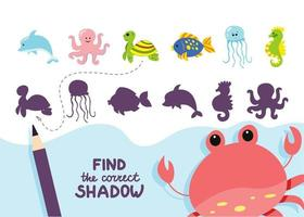 Find the correct shadow sea animals activity