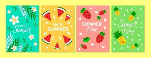 Vector set of bright summer cards. Beautiful summer posters with pineapple, strawberry, watermelon, palm leaves and hand written text. Summer holidays cards