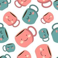 Seamless pattern with pink and blue cup with emotions, smile. Coffee cup with smoke float up. Vector Illustration. Flat style. Decorative design for cafeteria, posters, banners, cards.