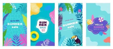 Plantilla de banner de fondo de historias de redes sociales de venta de verano con hojas tropicales, plumeria, monstera, paraguas de arena, tucán, flotadores de piscina, fondo de piscina. plantilla para flyer, web e impresión. vector