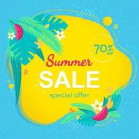 Summer sale banner template. Summer abstract geometric background with palm leaves, tropical fruits. Tropical background. Promo badge for your seasonal design. Vector illustration. Design for social media banner, poster, email, newsletter, ad, leaflet, pl