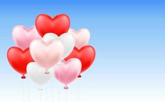 group of heart balloons floating in blue sky vector