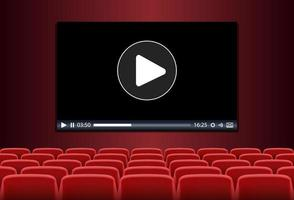 Rows of red seats in front of multimedia playing on a screen vector