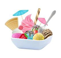 set of real chocolate, lemon, mango, strawberry and mint ice cream on a dish vector
