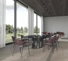 comedor y sala de estar de planta abierta foto