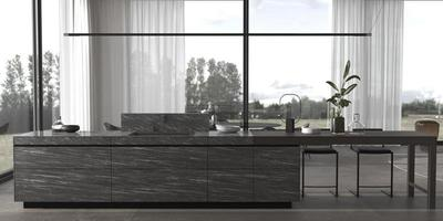 Contemporary kitchen counter with dining room photo