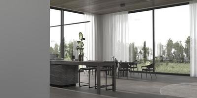 Contemporary kitchen and dining room photo