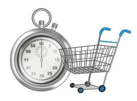 stopwatch empty shopping cart on white background vector