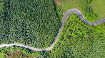 Aerial view of Rural road in countryside area, view from drone photo