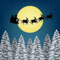 santa claus with reindeer flies over pile forest vector