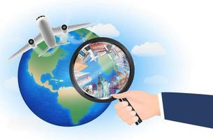 world landmarks in magnifying glass with airplane vector