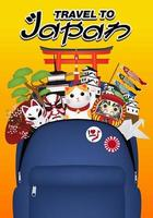 travel japan with bag full of japan objects vector