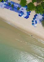 Aerial top view of Beautiful beach at morning in Thailand photo