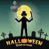 halloween spooky clown in a night graveyard vector