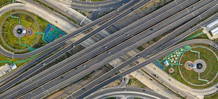 Aerial top view of highway photo