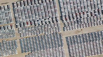 Aerial view of parking lot for new cars photo