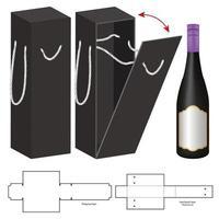 caja troquelada para maqueta de paquete de botella vector