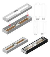 luxury watch sleeve box mockup die cut template vector