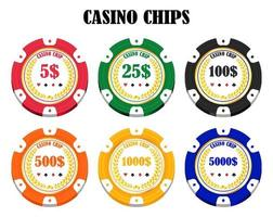 set of a real colorful casino chips vector