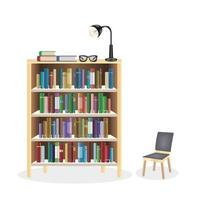 a bookcase with chair vector