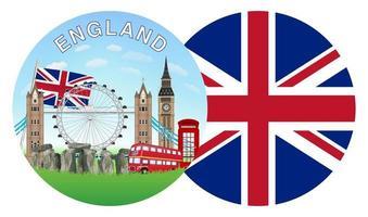 england flag and landmarks round logo vector