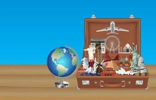 globe travel landmarks in suitcase with airplane vector