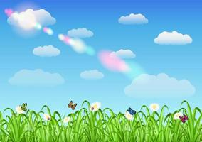 grass with flowers, butterflies and ladybug on sky background vector