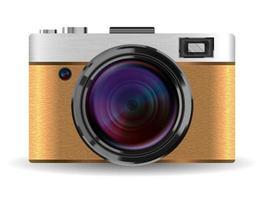 real vintage brown compact pocket camera vector