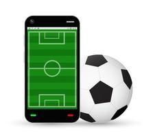 smartphone with a football field and soccer ball vector
