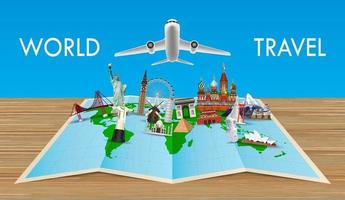 landmarks on world map with flying airplane vector