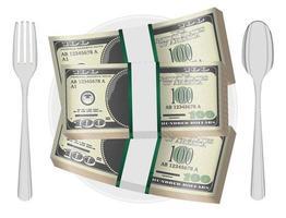 Paquete de billetes en un plato con tenedor y cuchara vector