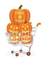 Halloween pumpkins on a shopping cart vector