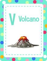 Alphabet flashcard with letter V for Volcano vector