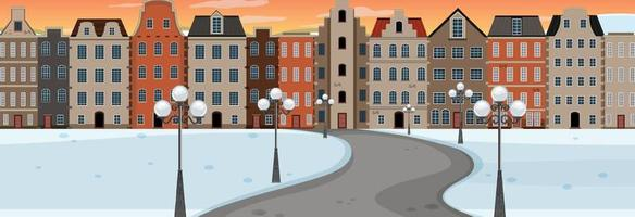 Winter season with road through the park into the town at sunset time horizontal scene vector