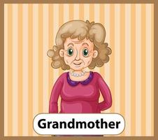 Educational English word card of grandmother vector